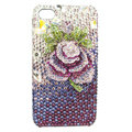 Bling Swarovski Flower diamond crystal cases covers for iPhone 4G - Rose