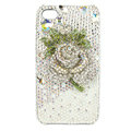 Bling Swarovski Flower diamond crystal cases covers for iPhone 4G - White
