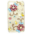 Bling Swarovski Flowers crystals diamond cases covers for iPhone 4G - Red