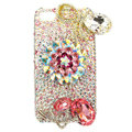 Bling Swarovski Flowers crystals diamond cases covers for iPhone 4G - White