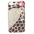 Bling Swarovski Heart Leopard covers diamond crystal cases for iPhone 4G - White