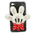 Bling Swarovski Mickey Mouse feet crystals diamond cases covers for iPhone 4G - White