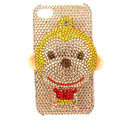 Bling Swarovski Monkey crystals diamond cases covers for iPhone 4G - Yellow