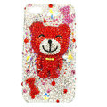 Bling Swarovski Smile Bear crystals diamond cases covers for iPhone 4G - Red