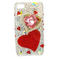 Bling Swarovski Two Heart covers diamond crystal cases for iPhone 4G - Red