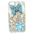 Bling bowknot Swarovski crystals diamond cases covers for iPhone 4G - Blue
