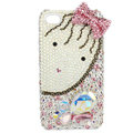 Bling bowknot Swarovski crystals diamond cases covers for iPhone 4G - Pink EB002