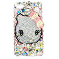 Bling hello kitty Pearl Swarovski crystals diamond cases covers for iPhone 4G - White