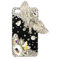 Bling Eagle Swarovski crystals diamond cases covers for iPhone 4G - White