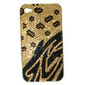 Bling Leopard Swarovski crystal diamonds cases covers for iPhone 4G - Yellow