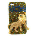 Bling Lion MGM Swarovski crystals diamond cases covers for iPhone 4G - Gold