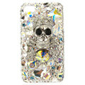 Bling Skull Swarovski crystals diamonds cases covers for iPhone 4G - White