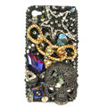 Bling Skull chain Swarovski crystals diamond cases covers for iPhone 4G - Black