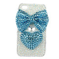 Bling bowknot Swarovski crystals diamonds cases covers for iPhone 4G - Blue