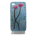 Bling flowers Swarovski crystal diamond cases covers for iPhone 4G - Blue