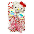 Bling hello kitty bowknot Swarovski crystal diamond cases covers for iPhone 4G - Red