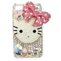 Bling hello kitty bowknot Swarovski crystals diamonds cases covers for iPhone 4G - Pink