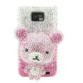 Bling Bear Swarovski crystals diamond cases covers for Samsung i9100 Galasy S II S2 - Pink