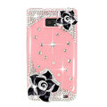 Bling Black Camellia Flowers Swarovski crystals diamond cases covers for Samsung i9100 Galasy S II S2 - Pink