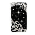 Bling Black Flowers Swarovski crystals diamond cases covers for Samsung i9100 Galasy S II S2 - Black