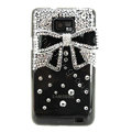 Bling Bowknot Swarovski crystals diamond cases covers for Samsung i9100 Galasy S II S2 - Black