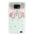 Bling Bowknot Swarovski crystals diamond cases covers for Samsung i9100 Galasy S II S2 - Pink