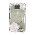 Bling Camellia Swarovski crystals diamond cases transparency covers for Samsung i9100 Galasy S II S2 - White
