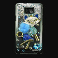 Bling Fox Swarovski crystals diamond cases covers for Samsung i9100 Galasy S II S2 - Blue