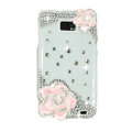 Bling Pink Flowers Swarovski crystals diamond cases covers for Samsung i9100 Galasy S II S2 - White