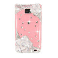 Bling White Camellia Flowers Swarovski crystals diamond cases covers for Samsung i9100 Galasy S II S2 - Pink