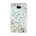 Bling White Flowers Swarovski crystals diamond cases covers for Samsung i9100 Galasy S II S2 - White