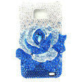 Flower bling Swarovski crystals diamond cases covers for Samsung i9100 Galasy S II S2 - Blue