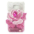 Flower bling Swarovski crystals diamond cases covers for Samsung i9100 Galasy S II S2 - Pink