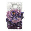 Flower bling Swarovski crystals diamond cases covers for Samsung i9100 Galasy S II S2 - Purple
