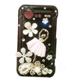 Bling Ballet girl crystals diamond cases covers for HTC Incredible S S710e G11 - Black