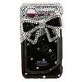 Bling Black bowknot crystals diamond cases covers for HTC Incredible S S710e G11 - Black