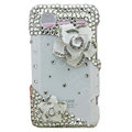 Bling Camellia crystals diamond cases covers for HTC Incredible S S710e G11 - White