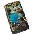 Bling Fox crystals diamond cases covers for HTC Salsa G15 C510e - Blue