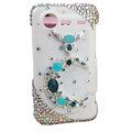 Bling Moon crystals diamond cases covers for HTC Incredible S S710e G11 - Blue