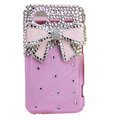 Bling Pink bowknot crystals diamond cases covers for HTC Incredible S S710e G11 - Rose
