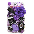Bling Purple flowers crystals diamond cases covers for HTC Incredible S S710e G11 - White