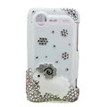 Bling Sheep crystals diamond cases covers for HTC Incredible S S710e G11 - White
