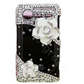 Bling White Camellia crystals diamond cases covers for HTC Incredible S S710e G11 - Black