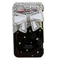 Bling White bowknot crystals diamond cases covers for HTC Incredible S S710e G11 - Black
