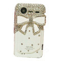 Bling White bowknot crystals diamond cases covers for HTC Incredible S S710e G11 - White