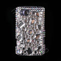 Bling big Point crystals diamond cases covers for HTC Salsa G15 C510e - White