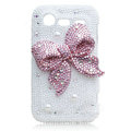 Bling bowknot Swarovski crystals diamond cases covers for HTC Incredible S S710D S710E G11 - Pink