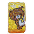 Bling cut Bear crystals diamond cases covers for HTC Salsa G15 C510e - Yellow