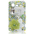 Bling flower Swarovski crystals diamond cases covers for HTC Incredible S S710D S710E G11 - Green