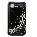 Flowers bling crystals diamond cases covers for HTC Incredible S S710e G11 - Black